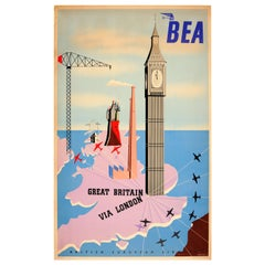 Original Vintage Midcentury Design Travel Poster - BEA Great Britain Via London