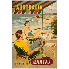 Original Vintage Midcentury Travel Poster - Australia So Near by Qantas Airline