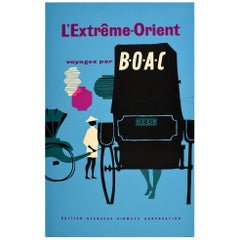Original Vintage Midcentury Travel Poster Far East Fly by BOAC L'Extreme-Orient