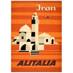 Original Vintage Midcentury Travel Poster for Iran by Alitalia Graphic Design