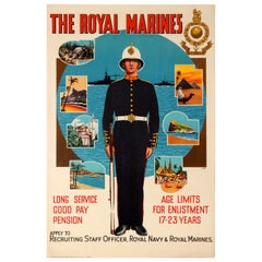 Original Vintage Military Recruitment Poster The Royal Marines By Sea By Land