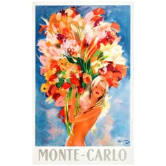 Original Vintage Monte Carlo Travel Poster Pin-Up Style Flower Girl by Domergue