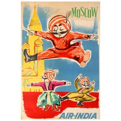 Original Vintage Moscow Air India Poster Maharajah Cossack Dancing on Red Square