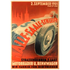 Original Vintage Motor Car Racing Event Poster for the 1951 Halle Saale Schleife