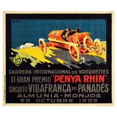 Original Vintage Motor Sport Poster Gran Premio Penya Rhin Grand Prix Car Racing