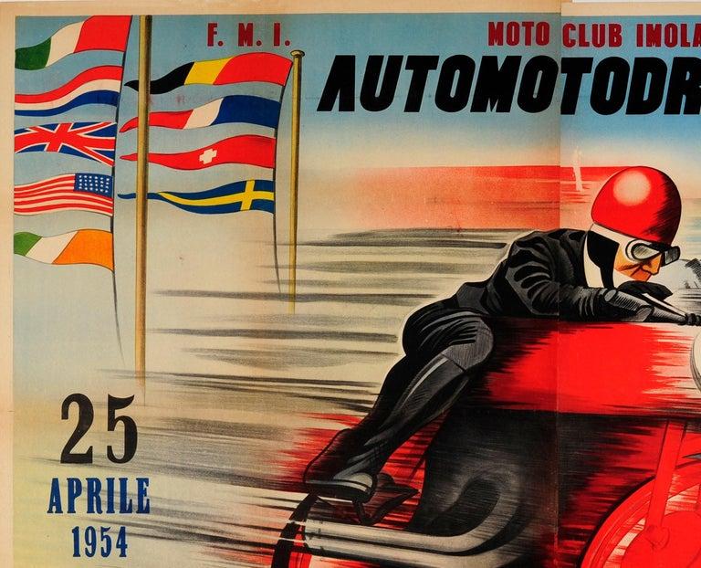 Original vintage motorsport poster for the Moto Club Imola Automotodromo di Imola Coppa D'Oro del motociclismo mondiale Velocita internazionale classi / Imola Motorbike Club Imola motor racing circuit World Cup motorcycle gold cup International