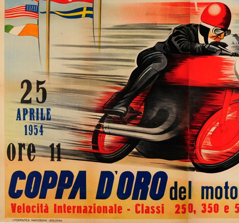 Original Vintage Motorcycle Racing Poster for Automotodromo Di Imola Coppa D'Oro In Good Condition For Sale In London, GB
