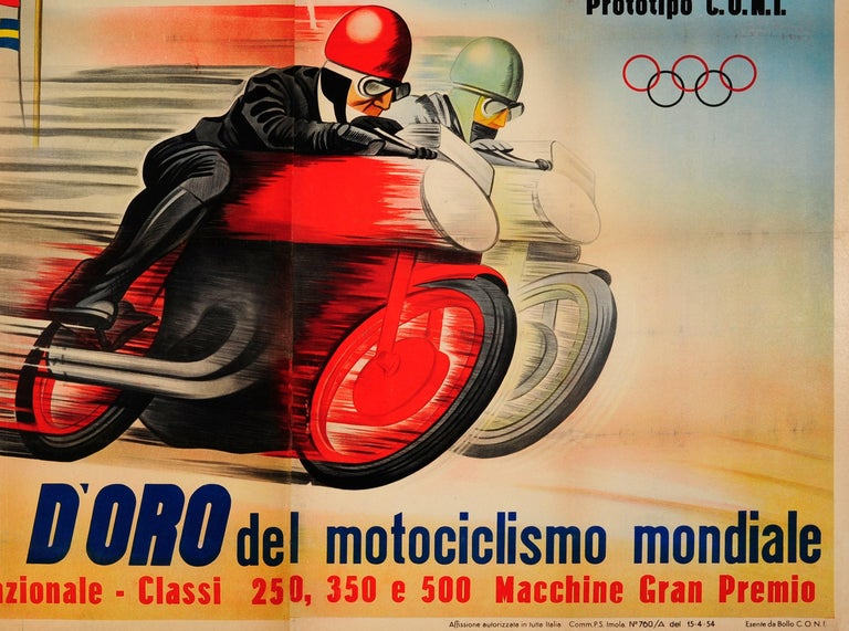Mid-20th Century Original Vintage Motorcycle Racing Poster for Automotodromo Di Imola Coppa D'Oro For Sale