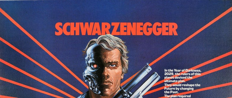 Original vintage UK quad movie poster for the 1984 American science fiction film directed by James Cameron - The Terminator - starring Arnold Schwarzenegger in the lead role, Michael Biehn, Linda Hamilton as Sarah Connor, and Paul Winfield about a