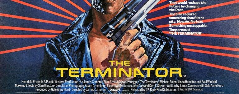 Original Vintage Movie Poster Arnold Schwarzenegger The Terminator Sci-Fi Film In Good Condition For Sale In London, GB