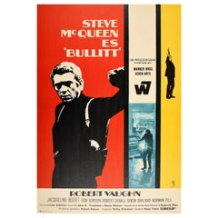Original Vintage Movie Poster Bullitt Steve McQueen Robert Vaughn Spain Release