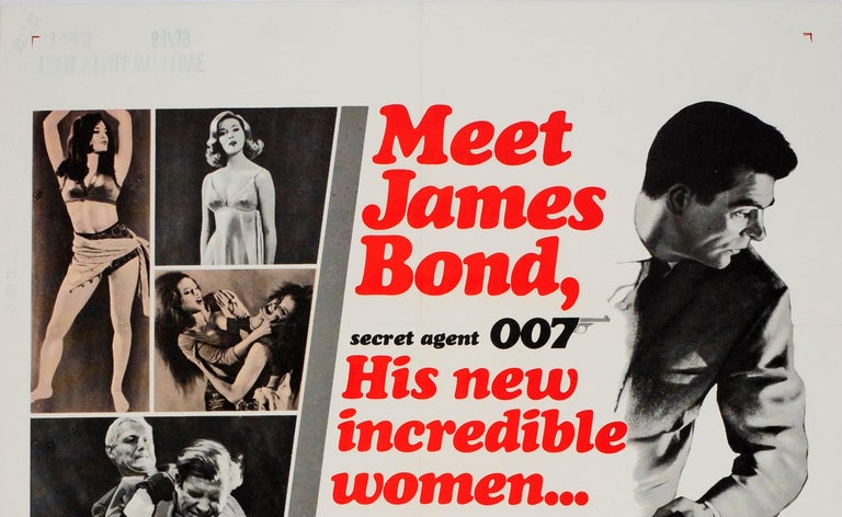 Original vintage movie poster for the US release of 007 James Bond film From Russia with Love directed by Terence Young and starring Sean Connery, Robert Shaw, Pedro Armendariz, Lotte Lenya and Bernard Lee. Great artwork showing Sean Connery as
