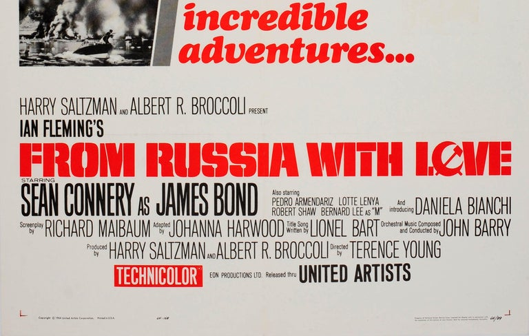 Original Vintage Movie Poster for the 007 James Bond Film From Russia With Love In Good Condition For Sale In London, GB