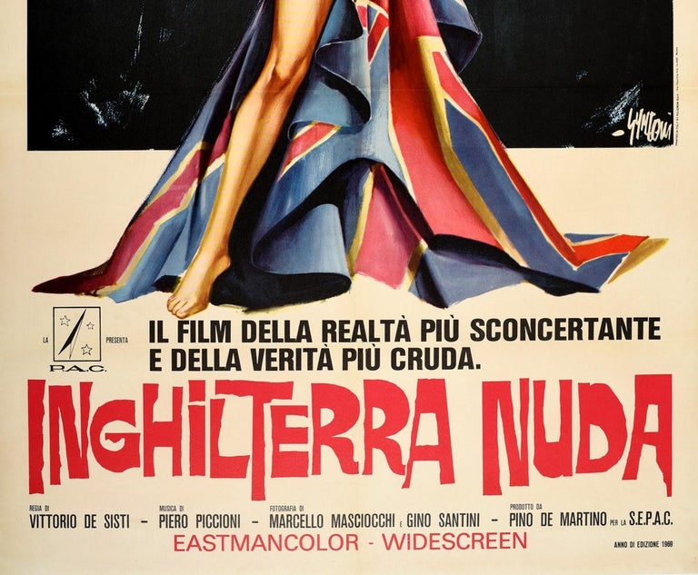 Mid-20th Century Original Vintage Movie Poster Inghilterra Nuda Naked England Italian Documentary For Sale