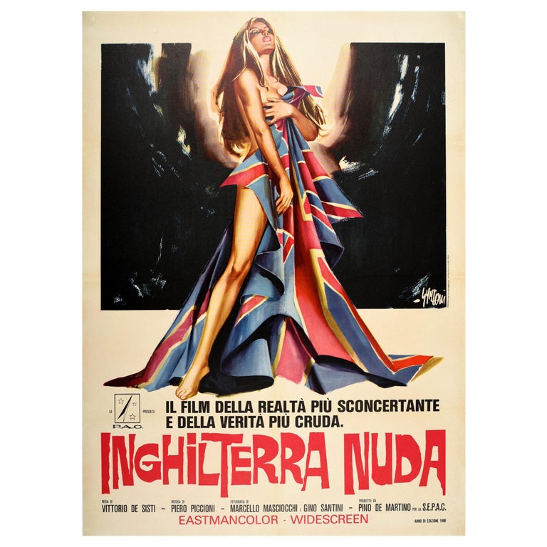 Original Vintage Movie Poster Inghilterra Nuda Naked England Italian Documentary For Sale