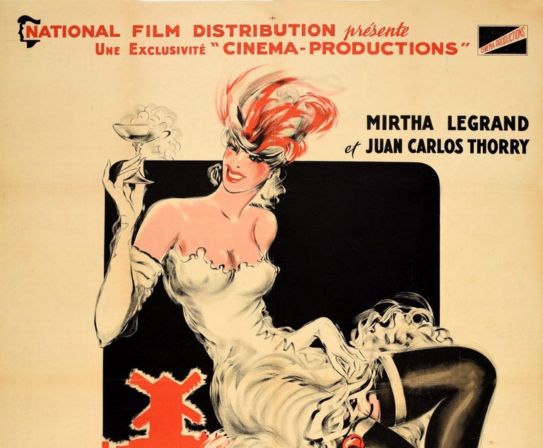 Original vintage movie poster for a musical comedy film La P'tite Femme du Moulin-Rouge featuring a great illustration by Vicente Cristellys (1898-1970) of a smiling lady wearing a white dress and gloves with red shoes and a feathered headdress