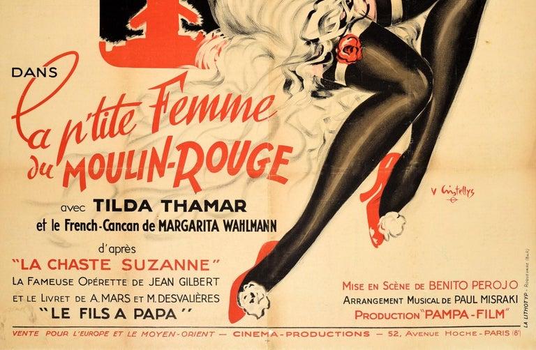 Original Vintage Music Movie Poster La P'tite Femme Du Moulin Rouge Chaste Susan In Good Condition For Sale In London, GB