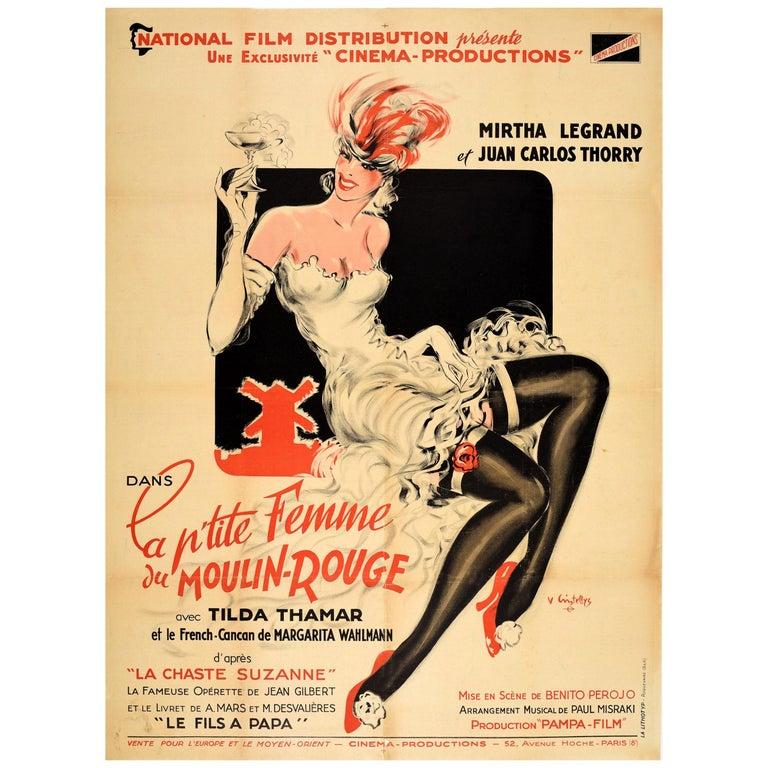 Original Vintage Music Movie Poster La P'tite Femme Du Moulin Rouge Chaste Susan For Sale