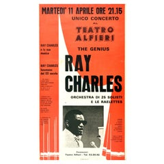 Original Vintage Music Poster The Genius Ray Charles Single Concert Turin Italy