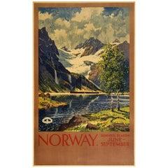 Original Vintage Norwegian Railway Poster Norway Summer Season Travel Fjord View