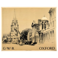 Original Vintage Oxford GWR Railway Poster Oxford University Church Classic Cars