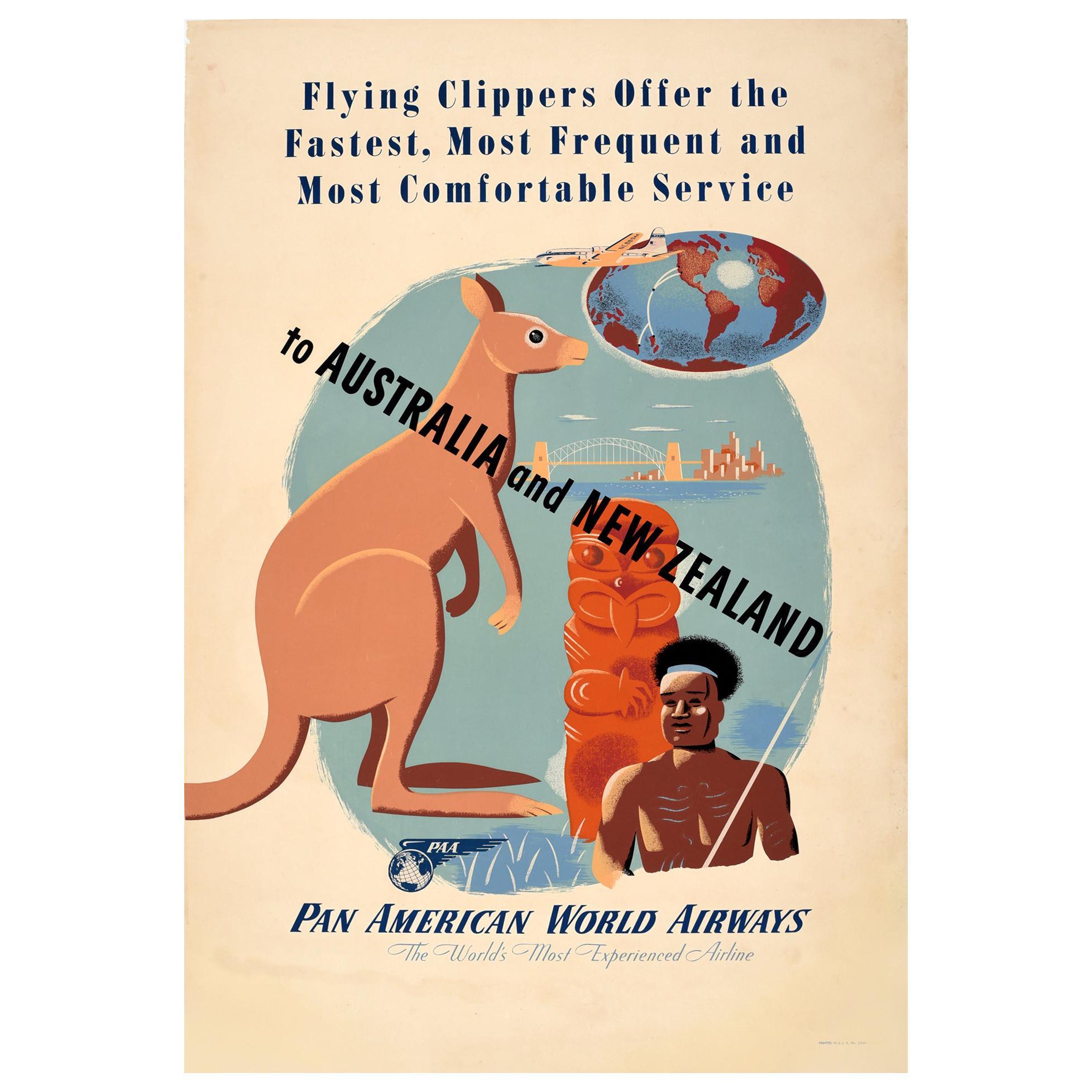 Original Vintage Pan Am Travel Poster To Australia And New Zealand Pan American