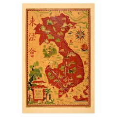 Original Vintage Pictorial Map Poster French Indochina Asia Indochine Francais