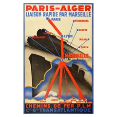 Original Vintage PLM Railway Poster Paris Algeria Europe North Africa Route Map
