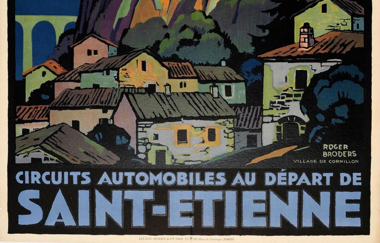 Early 20th Century Original Vintage PLM Railway Travel Poster by Broders - Cornillon Saint Etienne