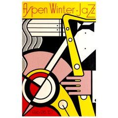 Original Vintage Pop Art Music Poster for the Aspen Winter Jazz Festival in 1967