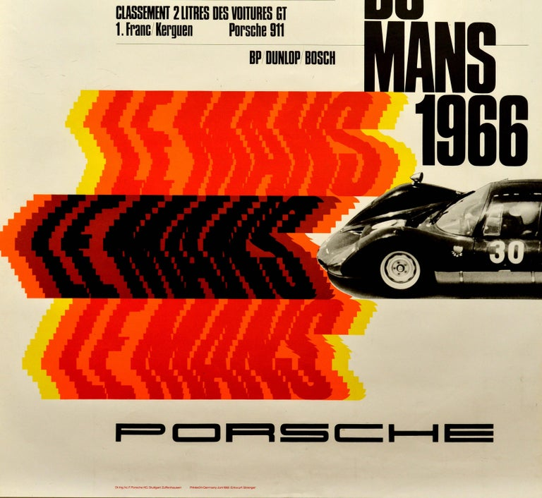 Original vintage motorsport poster celebrating the performance of Porsche at Les 24 Heures Du Mans 1966 / the 24 Hours of Le Mans 1966 featuring a dynamic design by Erich Strenger (1922-1993) depicting a black and white photograph of a Porsche 906