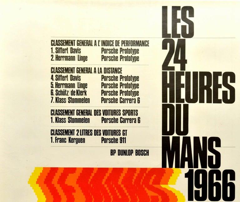 German Original Vintage Porsche Poster Le Mans 1966 24 Hour Grand Prix Race Motor Sport For Sale
