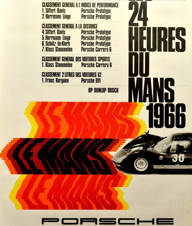 Original Vintage Porsche Poster Le Mans 1966 24 Hour Grand Prix Race Motor Sport In Excellent Condition For Sale In London, GB