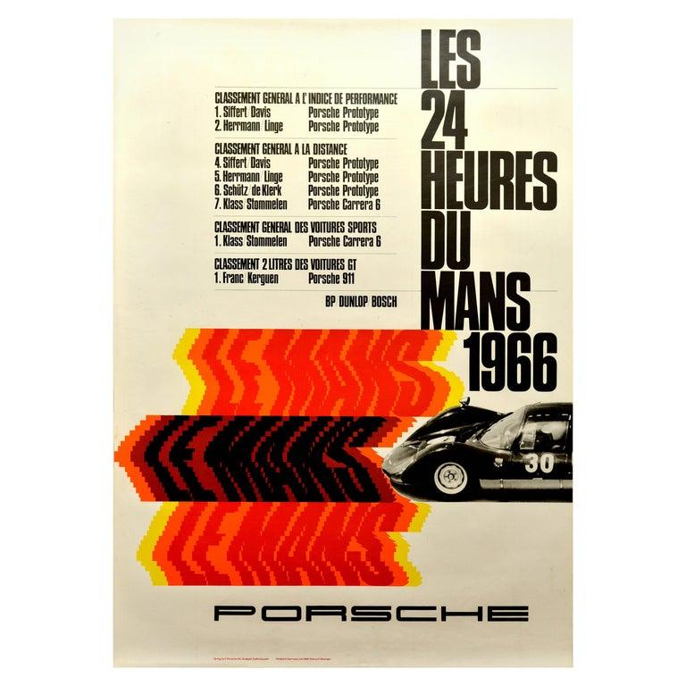 Original Vintage Porsche Poster Le Mans 1966 24 Hour Grand Prix Race Motor Sport For Sale