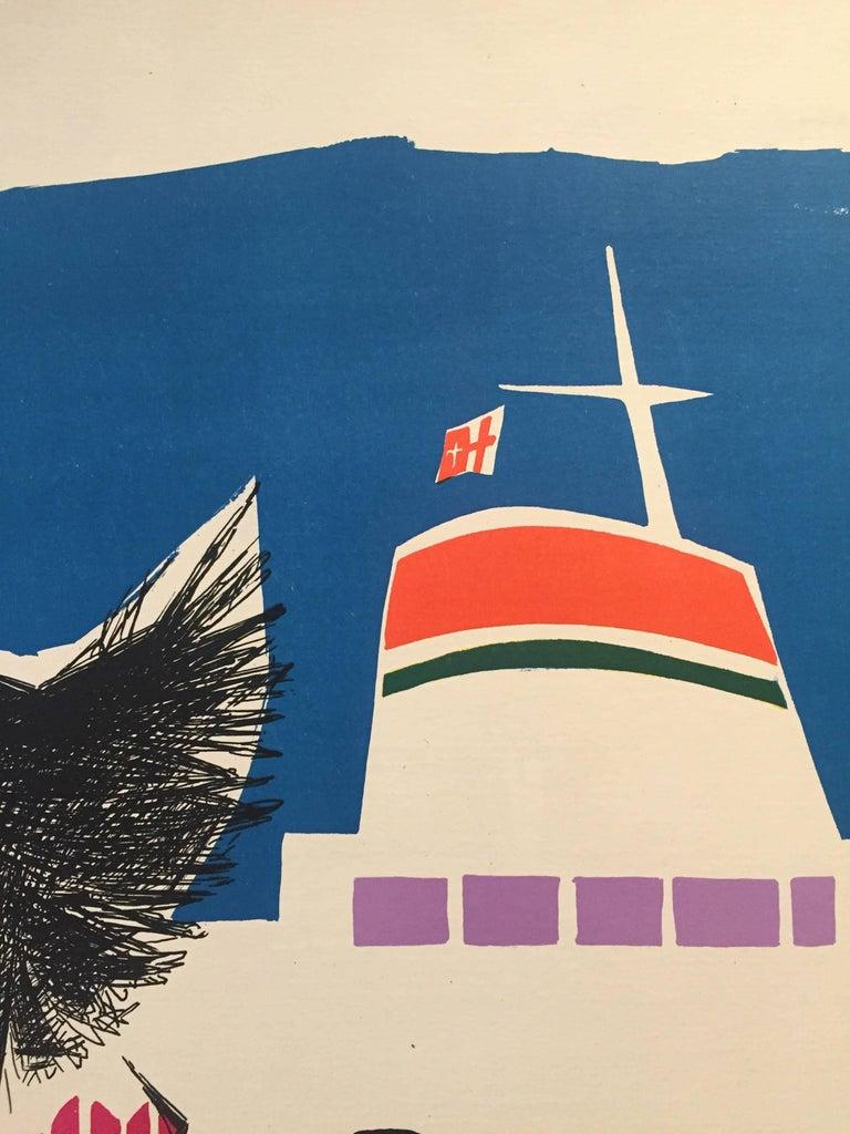 Mid-20th Century Original Vintage Poster, Travel Italy, Jean Colin Italian Line