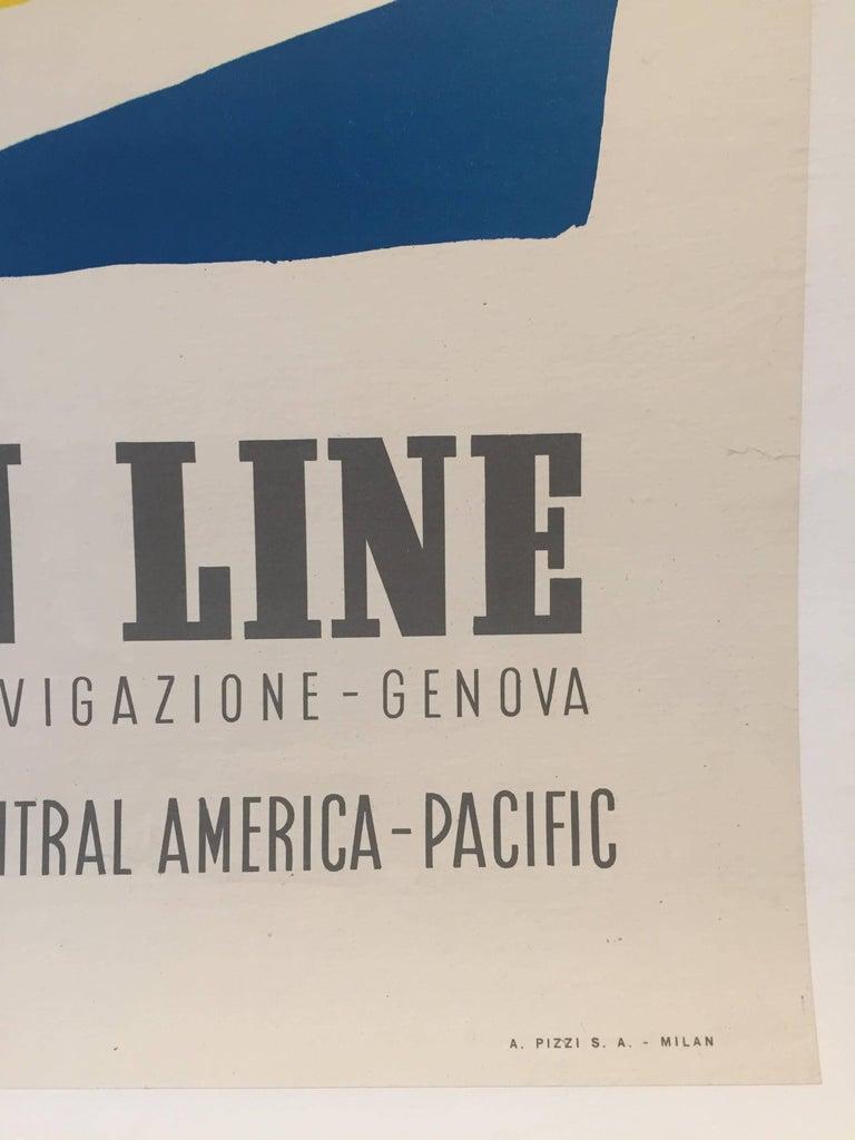 Original Vintage Poster, Travel Italy, Jean Colin Italian Line 2