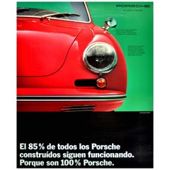 Original Vintage Poster 100% Porsche 356 B Classic Sports Car Advertising Design