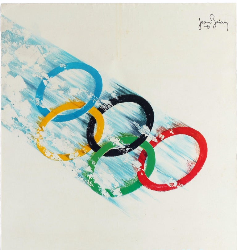 Original vintage Olympics sport poster for the 1968 Winter Olympic Games / Jeux Olympiques D'Hiver held in Grenoble France from 6-18 February 1968. Great design by Jean Brian (1910-1990) depicting the multicoloured Olympic rings racing through the