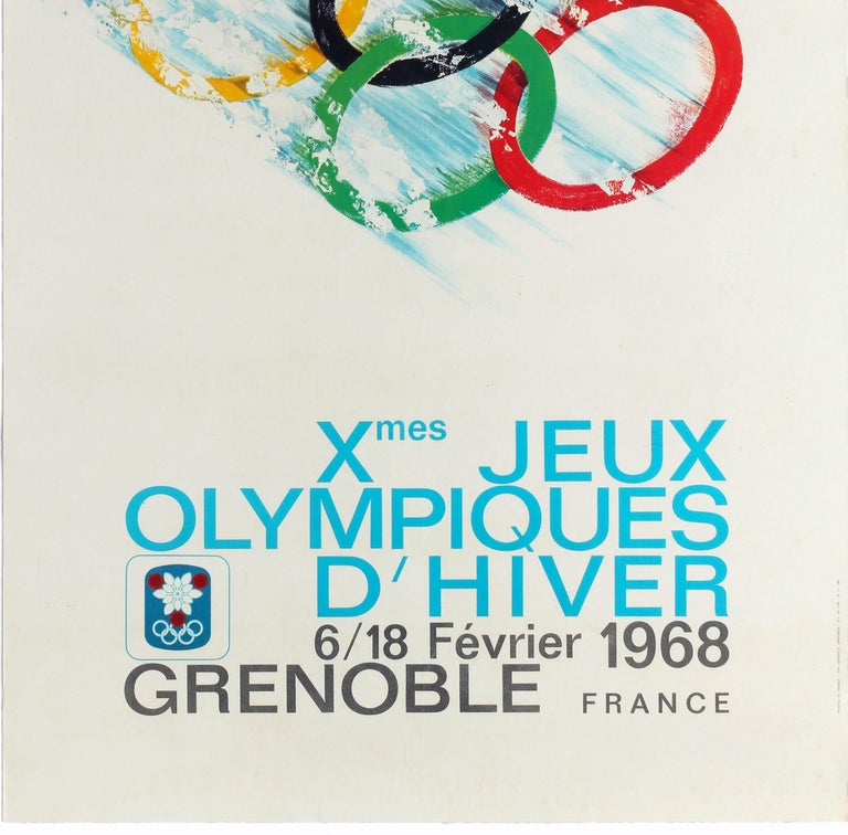 French Original Vintage Poster 1968 Winter Olympic Games Grenoble Jeux Olympiques Sport For Sale