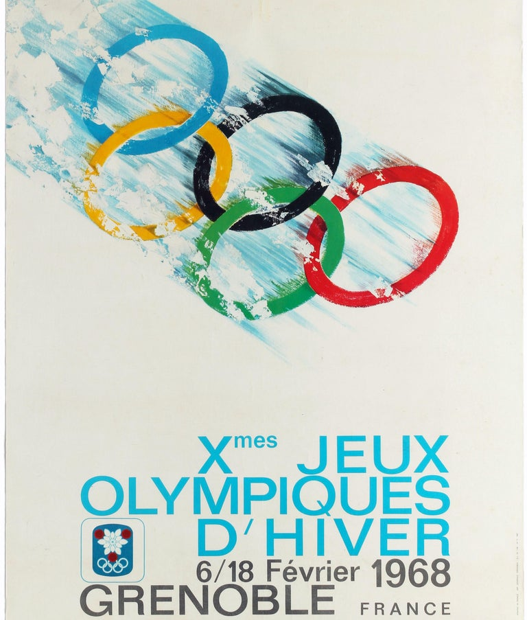 Original Vintage Poster 1968 Winter Olympic Games Grenoble Jeux Olympiques Sport In Good Condition For Sale In London, GB