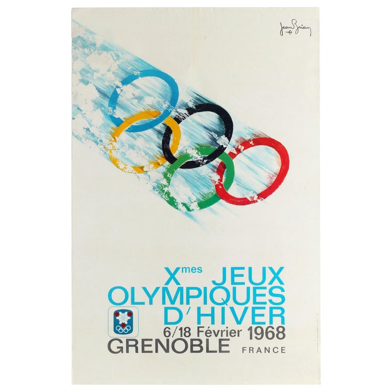 Original Vintage Poster 1968 Winter Olympic Games Grenoble Jeux Olympiques Sport For Sale