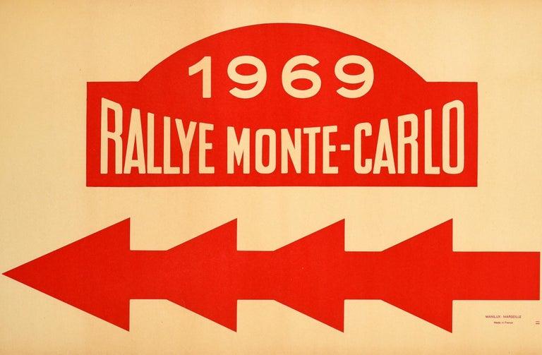 Original Vintage Poster 1969 Rallye Monte Carlo Rally Racing Motor Sport Monaco In Good Condition For Sale In London, GB