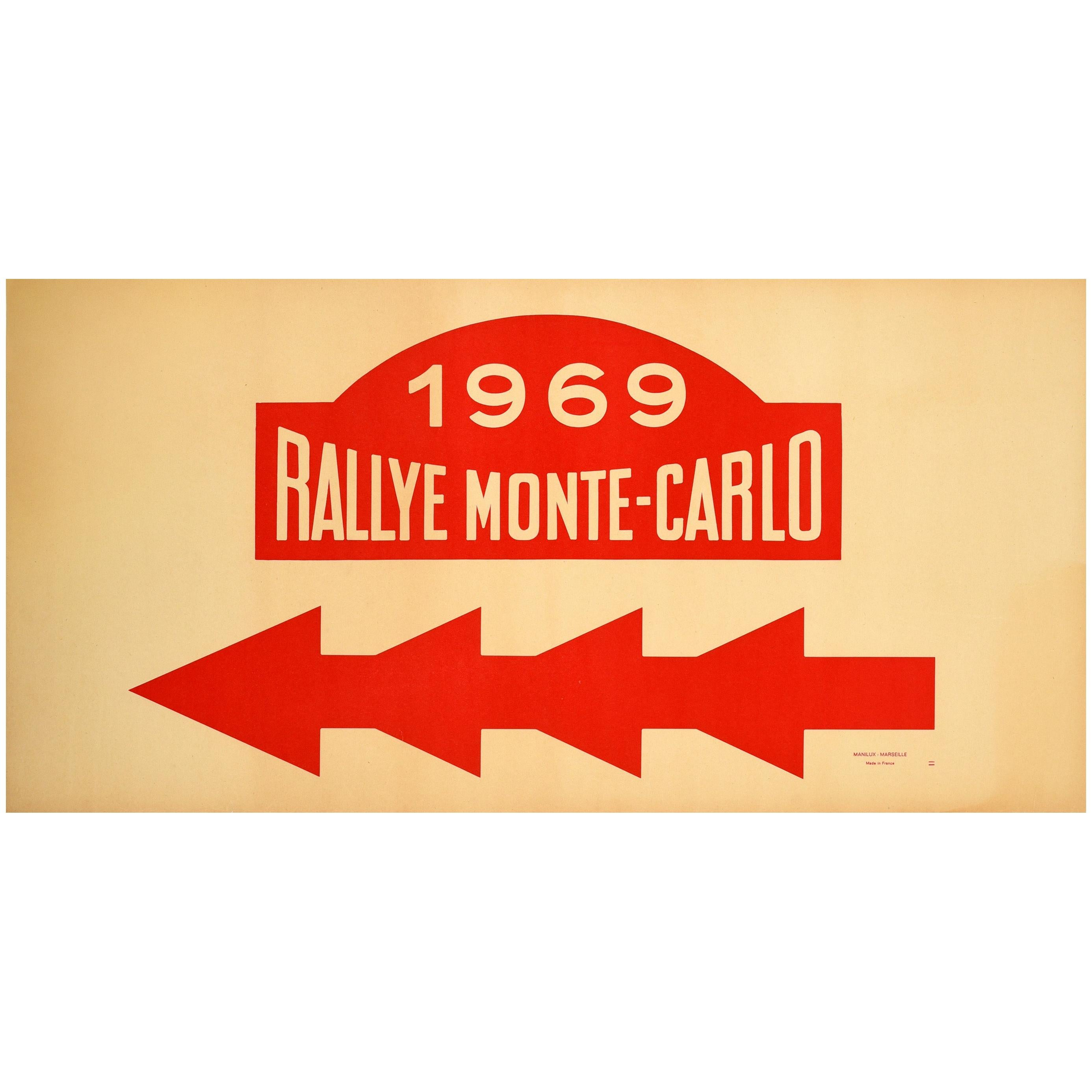 Original Vintage Poster 1969 Rallye Monte Carlo Rally Racing Motor Sport Monaco