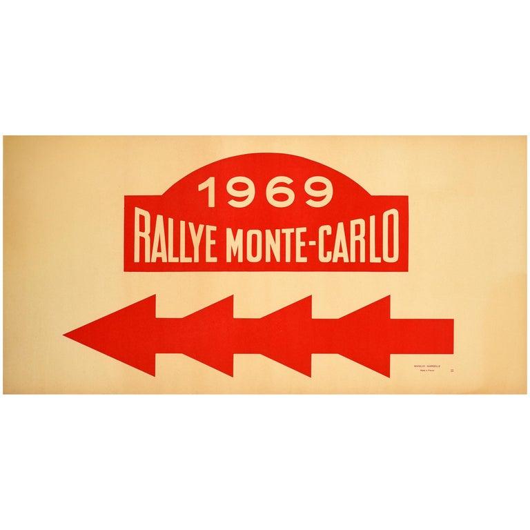 Original Vintage Poster 1969 Rallye Monte Carlo Rally Racing Motor Sport Monaco For Sale