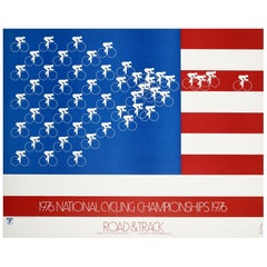 Original Vintage Poster 1976 National Cycling Championships Sport US Flag Design