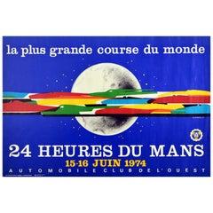 Original Vintage Poster 24 Heures Du Mans Auto Racing Le Mans Sports Car Design
