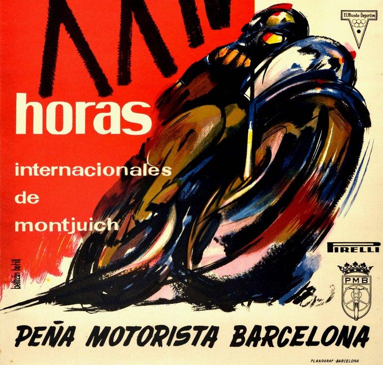 Spanish Original Vintage Poster 24 Hours Montjuich Motorcycle Race Grand Prix Barcelona For Sale