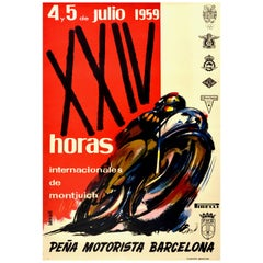 Original Vintage Poster 24 Hours Montjuich Motorcycle Race Grand Prix Barcelona