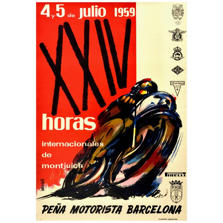 Original Vintage Poster 24 Hours Montjuich Motorcycle Race Grand Prix Barcelona For Sale