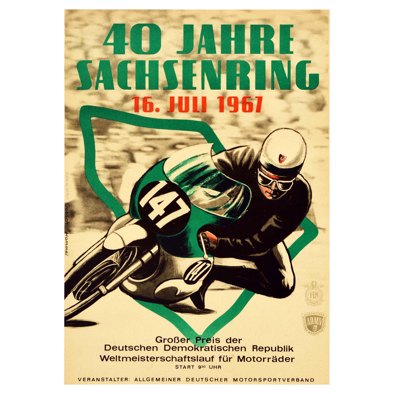 Original Vintage Poster 40 Years Sachsenring 1967 Grand Prix Motorcycle Race Art